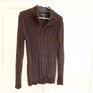 Heathered Brown Collared Knit Sweater